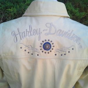 Unique Harley-Davidson beige leather jacket